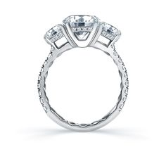 Three Stone Quilted French Pavé Engagement Ring | A. Jaffe