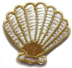 "[Single Count] Custom and Unique (1 3/4"" x 1 5/8"" Inches) Ocean Beach Scallop Clam Seashell Iron On Embroidered Applique Patch {Gold and White Colors} mySimple Products http://www.amazon.com/dp/B0161VB2DU/ref=cm_sw_r_pi_dp_atQMwb19D605Z"