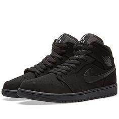 df8db308bdda Triple Black Air Jordan 1 Mid Suede 554724 040 Below Retail