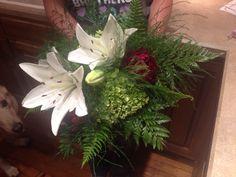 Erika's wedding: bridal bouquet with lilies, hydrangeas, peonies, ferns