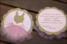 BALLERINA INVITATION  Pink and Gold Tutu ballet by PoshMyParty Ballerina Birthday Parties, Ballerina Party, Tutu Invitations, Baby Shower Invitations, Baby Shower Invites For Girl, Baby Shower Parties, Ballerina Baby Showers, Gold Tutu, Partys