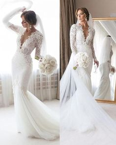 Mermaid Wedding Dress With Sleeves, V Neck Wedding Dress, Backless Wedding, Long Sleeve Wedding, Long Wedding Dresses, Elegant Wedding Dress, Mermaid Bridal Gowns, Wedding Dress Trumpet, Fitted Wedding Gown
