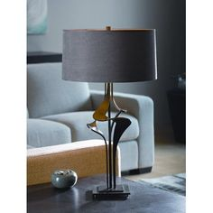 "Hubbardton Forge Antasia 27.4"" Table Lamp Finish: Translucent Mahogany, Shade Color: Flax"