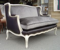 Velvet and Leather Settee by Michaels Upholstery, via Flickr
