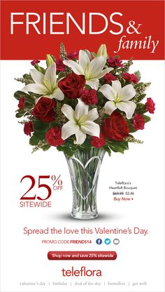 Teleflora's Valentine's Day Friends & Family 25% off discount!