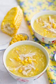 Chicken and Sweetcorn Soup by mykeuken: Looks like summer! #Soup #Chicken #Corn #Healthy