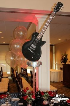Music & Rock Theme Ideas - Guitar Centerpieces by Balloon Artistry - Mazelmoments.com