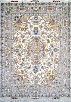 Amiri Silk Persian Rug | Exclusive collection of rugs and tableau rugs - Treasure Gallery Amiri Silk Persian Rug You pay: $4,500.00 Retail Price: $9,900.00 You Save: 55% ($5,400.00) Item#: EK-85 Category: Small(3x5-5x8) Persian Rugs Design: Center Medallion Floral Size: 150 x 202 (cm)      4' 11 x 6' 7 (ft) Origin: Persian, Tabriz Foundation: Silk Material: Wool & Silk Weave: 100% Hand Woven Age: Brand New KPSI: 600