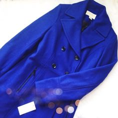 Michael Kors Blue Peacoat Super pretty and the perfect pop of color in the cold! Royal blue with black buttons and details. Brand new with tags. No trades!! 012516390tmr MICHAEL Michael Kors Jackets & Coats Pea Coats
