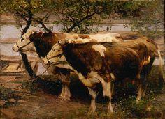 Heinrich von Zügel (German, 1850-1941). Oxen -Two Cows, 1900. Oil on canvas. 333/4 x 461/4 in. Charles and Emma Frye Collection, 1952.208