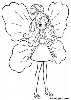 Printable Barbie Thumbelina Janessa Coloring Pages
