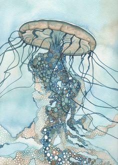 impression de 5 « x 7 » Il sagit dune méduse géante de beaux et lunatiques (Chrysaora). Loriginal est une aquarelle peinte dans les tons de terre verts bleus turquoises avec différentes teintes dune de mes couleurs préférées : phtalocyanine (en dautres termes, le vrai bleu.) Voir plus de mes méduses ici : http://etsy.me/1m3oQbU Il sagit dun tableau composé de petits cercles, et chaque cercle est synonyme de vie cellulaire. Tout au long de la peinture, la purge des aquarelles...
