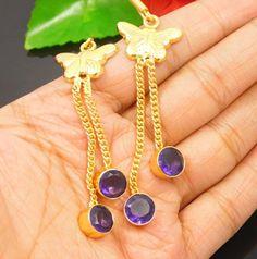 20 Carat Gold Plated Faceted Tanzanite Quartz Women's Earring Jewelry NJT992 #Handmade