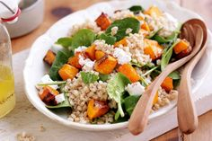 Barley and honey roast pumpkin salad. Boost your intake of wholegrain goodness with this delicious and nutritious barley and honey roast pumpkin salad.