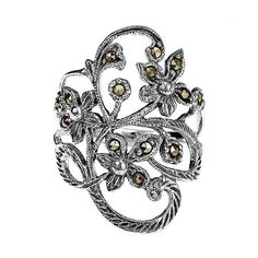 AeraVida Beautiful Marcasite Flower Vine Sterling Silver Ring ($33) ❤ liked on Polyvore featuring jewelry, rings, multiple colors, flower ring, sterling silver vine ring, band rings, sterling silver rings and flower band ring