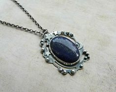 Lapis Lazuli & Sterling Silver Moon and Stars Necklace - Metalwork Silver and Stone Artisan Jewelry