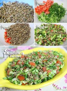 Green Lentil Salad, How to - Salad Recipes Green Lentil Salad, Green Lentils, Turkish Recipes, Indian Food Recipes, Ethnic Recipes, Lentil Salad Recipes, Vegetarian Recipes, Mashed Potato Pancakes, How To Make Greens