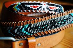 DIY instructions on how to make a unique, beaded native American belt with classic eagle motif. part II Beaded Hat Bands, Beaded Belts, Beaded Jewelry, Diy Leather Belt, Bead Loom Designs, Horse Crafts, Native American Art, Loom Beading, Nativity