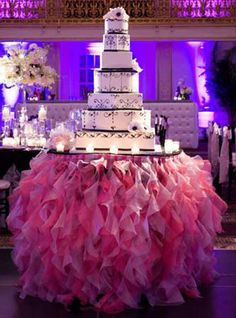 Tutu Table Skirt: This wedding cake table is made all the more special with a pink tulle table skirt.  So pretty!
