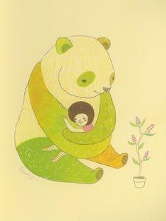rainbow panda hug