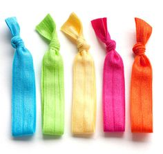 The Bright Package - 5 Elastic Solid Color Hair Ties that Double as Bracelets by Mane Message on Etsy