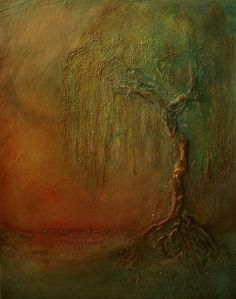 """""""Weeping Willow Tree"""" Mixed on canvas by Donna Holdsworth  SOLD"""