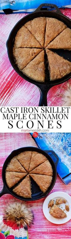 These Cast Iron Skillet Maple Cinnamon Scones are a healthy way to start your day without a giant sugar rush. Cast Iron Skillet Cooking, Iron Skillet Recipes, Cast Iron Recipes, Skillet Meals, Skillet Kitchen, Skillet Food, Dutch Oven Cooking, Dutch Oven Recipes, Cooking Recipes