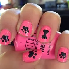 Creative Fundraising Ideas for Animal Charities Animal Nail Art Have some volunteers who love doing nails? Host a pet-themed manicure party! Create your online fundraising campaign at / Dog Nail Art, Animal Nail Art, Pink Nail Art, Dog Nails, Dog Art, Cute Nails, Pretty Nails, Paw Print Nails, Nail Art Designs