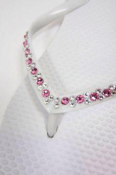 Pink Swarovski Crystal Bridal Cariris/Havaianas Embellished with Authentic Swarovski Elements Rhinestones on Etsy, £48.91