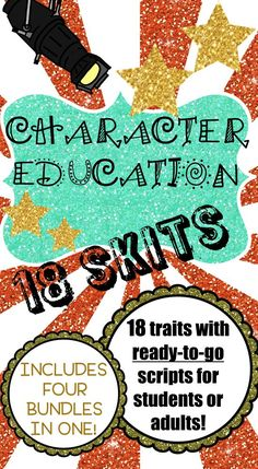 Students love skits and role-playing! 18 ready-to-go scripts. Includes the following character traits: Cooperation, Kindness, Courtesy, Empathy, Sportsmanship, Respect, Honesty, Integrity, Self-Discipline, Responsibility, Perseverance, Courage, Resilience, Patience, Fairness, Tolerance, Citizenship, and Trustworthiness. Perfect for your character education program, student of the month program, PBIS implementation, assemblies, small groups, and classroom guidance lessons!