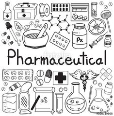 Vector: Medicine and pharmaceutical doodle handwriting icons of medicines tools sign and symbol in white isolated paper background for health presentation or subject title, create by vector Doodle Icon, Doodle Art, Health Symbol, Medical Icon, Sketch Notes, Bullet Journal Inspiration, Paper Background, Doodle Background, Hand Lettering