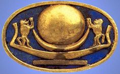 Ring with Moon Barque- Egypt [Hailing Baboon with clearly golden disk on crescent and solar barque with the Firmament/Heavens in the background]