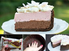 No Bake Neapolitan Cheesecake