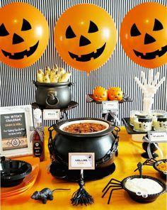 halloween party thematisches buffet einrichten