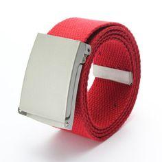 Men Women Candy Cotton Canvas Fabric Webbing Metal Buckle Belt Waistband