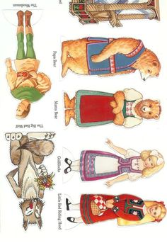 Goldilocks and the Three Bears and Little Red Riding Hood Paper Doll Printable Props