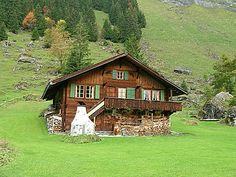 Our swiss chalet  was on a sloped hill just like this in the mountains of West Virginia