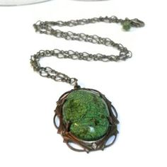 Magnesite Necklace Victorian Forest Green Gemstone by pink80sgirl, $33.00