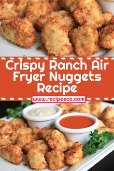 Crispy Ranch Air Fryer Nuggets Recipe - These air fried nuggets are healthier than deep fried, and have tons of flavor. Air Fryer Recipes Nuggets, Nuggets Recipe, Healthy Family Dinners, Healthy Dinner Recipes, Kids Meals, Healthy Food, Chicken Meatball Recipes, Chicken Nugget Recipes, Lunch Ideas
