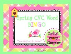 This collection includes downloads for a class set of 25 CVC word bingo cards featuring spring theme.  You print the number you need.  Great for small or whole group use.Christy's Cutesy Classroom
