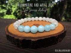 """USE CODE """"KW10OFF"""" FOR 10% OFF!!  Stress Relief // Reiki Infused // Aquamarine and White Jade"""