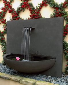 Concrete Modern Water Fountain in Patio Design Ideas Patio Water Fountain : Making Different Effect for Your Patio Indoor water fountains Patio Water Fountain, Indoor Water Fountains, Indoor Fountain, Water Garden, Fountain Garden, Home Fountain, Homemade Water Fountains, Water Fountain Design, Concrete Fountains