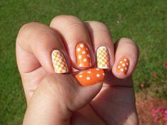 Tennessee vols nail art Tennessee Nails, Tennessee Football, Ut Football, Tiger Nail Art, Tiger Nails, Sassy Nails, Cute Nails, Nail Polish Designs, Nail Art Designs