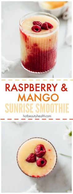 Raspberry Mango Sunrise Smoothie. This healthy drink recipe is sweet and tart and takes less than 10 minutes. Try making this for breakfast or as a post workout snack this spring and summer. (Click pin for recipe!)