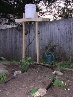 Bucket Drip Irrigation - quick tutorial in case have to try without hubby help