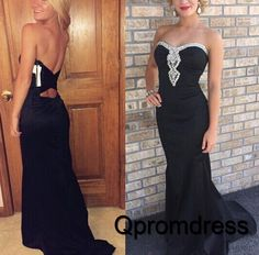 Beautiful sequins prom dress, ball gown, 2016 black chiffon long evening dress #coniefox #2016prom