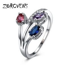ZORCVENS Three Different Small Zirconia Rings For Women Silver-Color Elegant Rings Engagement Wedding Ring Jewelry #Affiliate