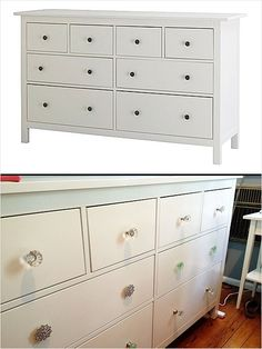 Simple DIY Ikea Hack: Take a Hemnes dresser, add multi-colored Anthropologie knobs and bam! You have a customized and pretty piece of furniture. Ikea Furniture, Furniture Makeover, Painted Furniture, 8 Drawer Dresser, Drawers, Hemnes, Big Girl Rooms, Walk In, Decoration