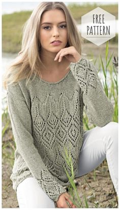 Women loose cardigan with lace diamonds - Strickmuster Anleitung Lace Knitting Patterns, Knitting Stitches, Free Knitting, Knitting Needles, How To Purl Knit, Crochet Clothes, Pulls, Knit Crochet, Crochet Blouse