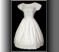 Vintage 1950s Dress White New Look Full Skirt by vintagediva60, $169.99